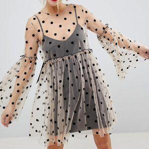 ASOS Sheer Smock Mini Dress in Spot Mesh